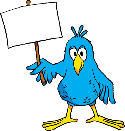 Cute cartoon bird holding a blank sign. 向量圖像