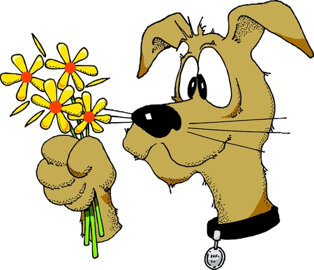Cartoon image of a dog holding a bunch of flowers. Stock Vector - 9694818