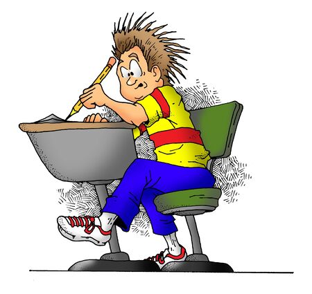 study: Cartoon image of a boy in school taking a test. Stock Photo
