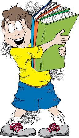 Cartoon beeld van een jongen die een hoop boeken klaar voor school.