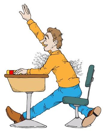 クラスで彼の手を上げる学生のイラスト。