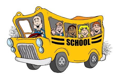 conductor autobus: Imagen animada de un autob�s escolar teniendo atr�s un grupo de ni�os a la escuela.