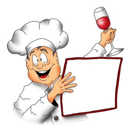 Cartoon image of a Chef holding a menu and a glass of wine. Stock fotó