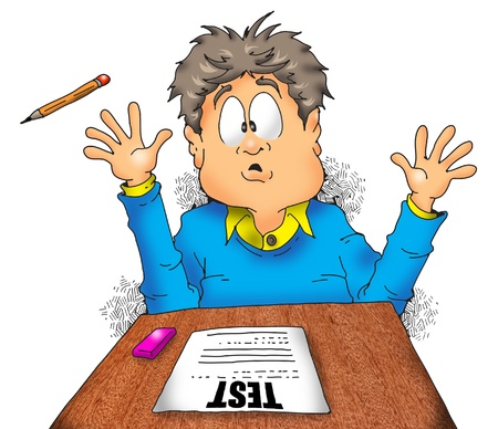 少年は非常に恐ろしいの彼のテストを検索します。