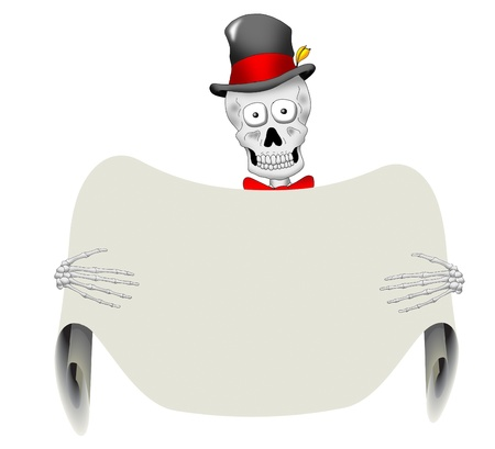 A very dapper skeleton holding a blank sign