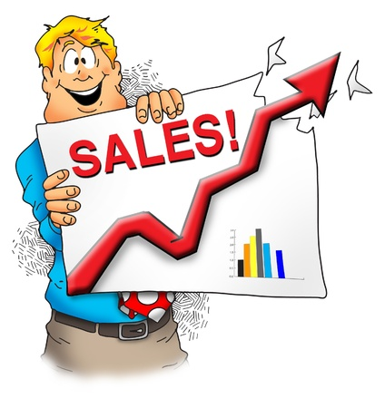 sales executive: A happy executive showing that sales are off the charts. Stock Photo