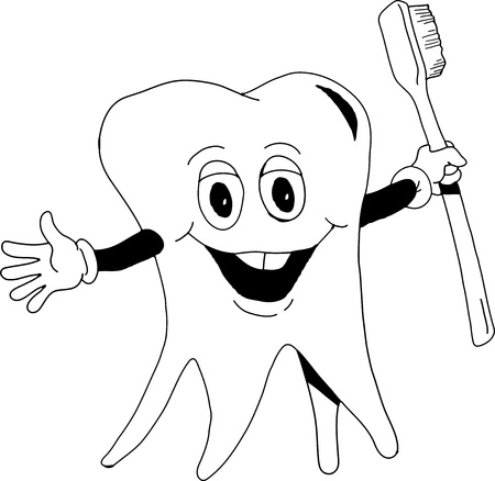 cleanliness: A happy tooth holding a toothbrush