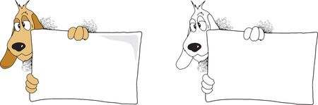 Cartoon image of a dog holding blank a sign