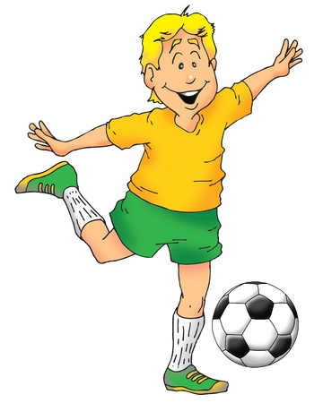 An excited boy about to kick a soccer ball. Stock fotó