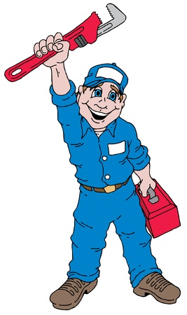 Cartoon image of a plumber holding a plumbers wrench. Vector