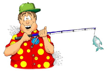Cartoon image of a man holding a rod and reel with a small fish. photo