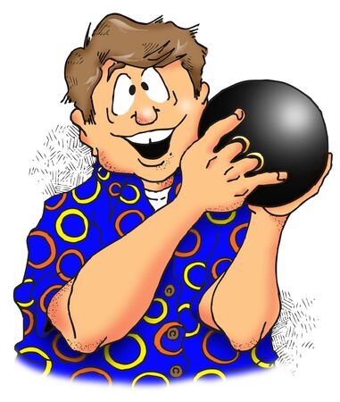 Cartoon Illustration of a Happy Looking Bowler.