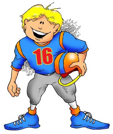サッカーをプレイする準備をしている子供の漫画のイメージ。 写真素材