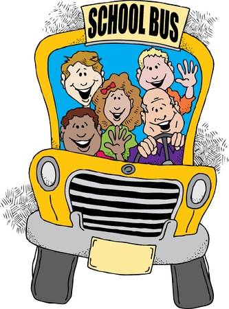 public schools: Cartoon image of a school bus taking a group of kids back to school.