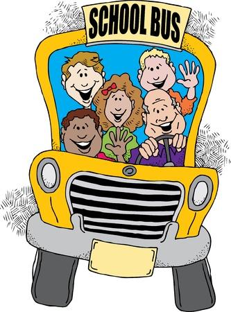 transport scolaire: L'image de dessin anim� d'un autobus scolaire en prenant un groupe d'enfants � l'�cole.