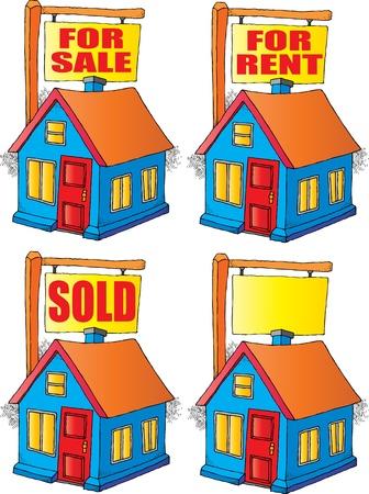 売り物、賃貸、販売または空白である標識と家のイメージ  イラスト・ベクター素材