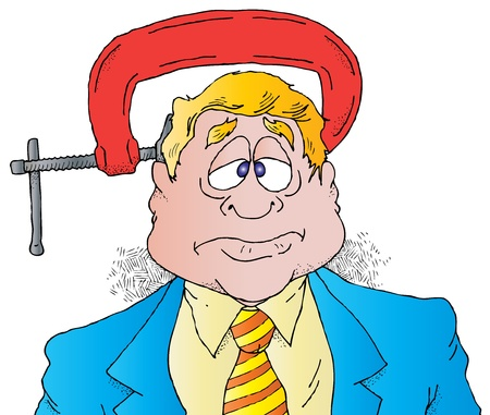 Cartoon of an Executive Under Pressure With a Large Vise on His Head.