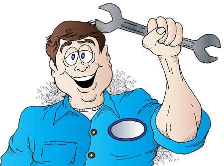 Cartoon of a Happy Auto Mechanic Illusztráció