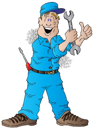 Cartoon of a Happy Auto Mechanic With a Wrench