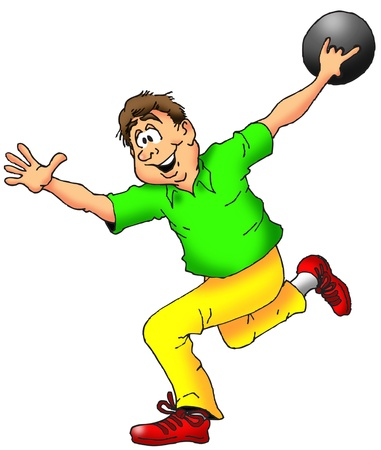 Cartoon Illustration of a Man Throwing a Bowling Ball.