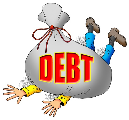 owe: Cartoon Image of Someone Being Weighed Down by Too Much Debt.