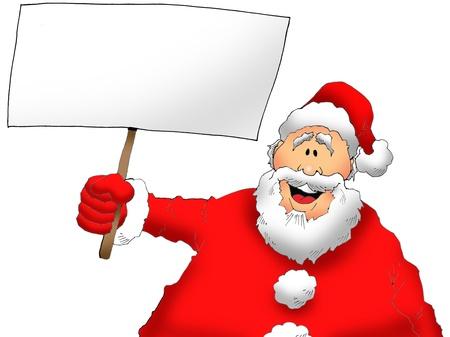Cartoon Image of Santa Holding a Blank Sign photo