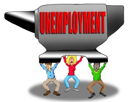 실업으로 무게가 나가는 사람들의 만화 이미지 스톡 콘텐츠