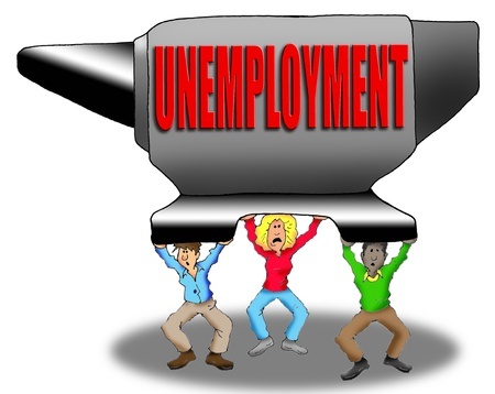 Cartoon Image of People Being Weighed Down by Unemployment