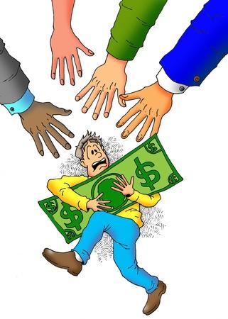남자의 돈을 위해가는 많은 손