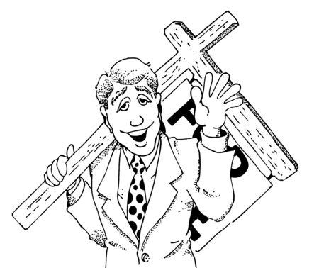 판매 기호를 들고 부동산 에이전트의 만화 이미지 일러스트