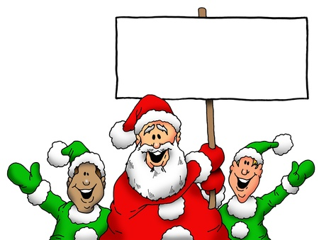 elves: Santa and Elves With Blank Sign
