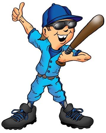 Cartoon of a child baseball player giving a thumbs up. photo
