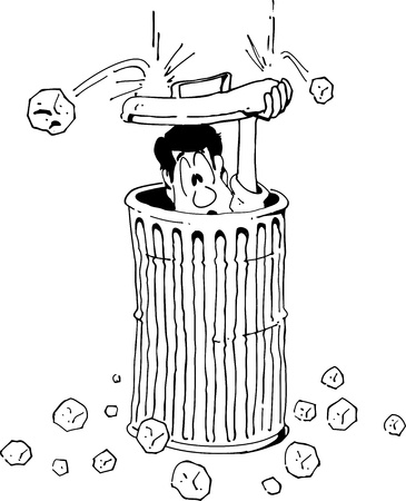 Cartoon of a man hiding from hail in a garbage can