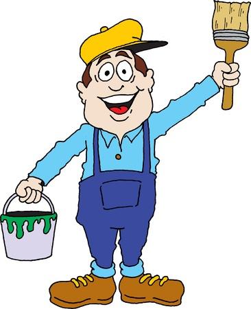decorando: Imagen de la historieta de un pintor listo para el trabajo. Vectores