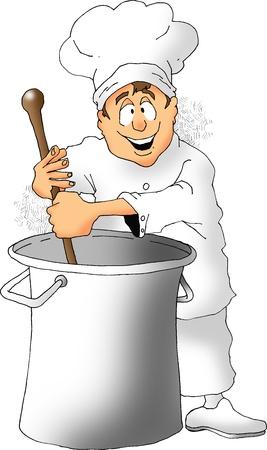 大きな鍋をかき混ぜるシェフの漫画 写真素材