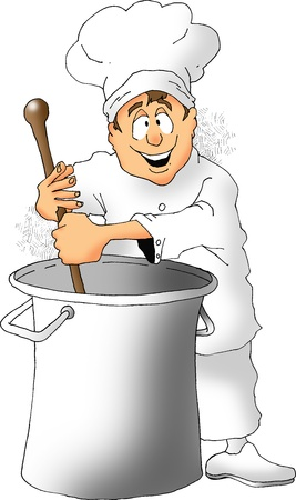 Cartoon of a chef stirring a big pot  Stock fotó