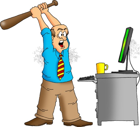 Cartoon of an angry computer user about to destroy his computer with a baseball bat. photo