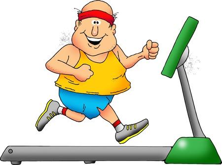 chubby cartoon: Cartoon of a smiling chubby man on a treadmill Stock Photo
