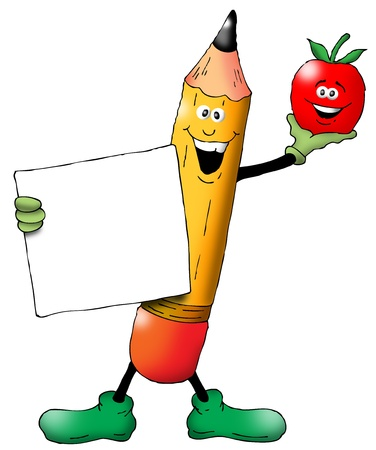 Cartoon of a Back To School Pencil with an Apple holding a blank sign
