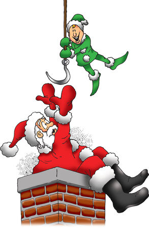 Santa is Stuck in a Chimney, but an Elf is There to Help