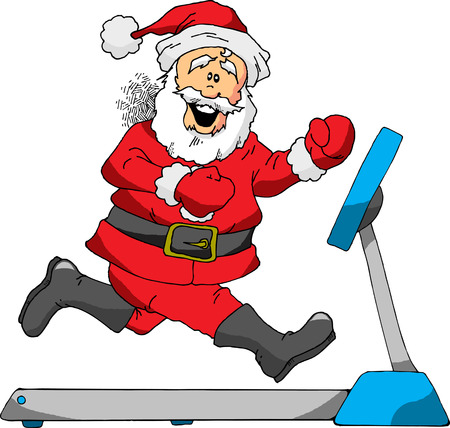A Cartoon of Santa Running on a Treadmill Vector