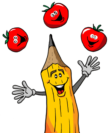 リンゴの束をジャグリング鉛筆  イラスト・ベクター素材