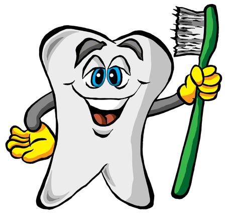 歯ブラシを持って歯のベクトル イラスト