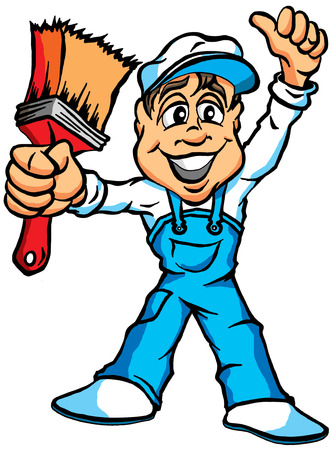 house painter: A Cartoon Illustration of a House Painter Illustration