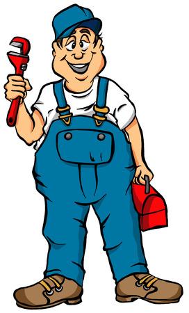 配管工の仕事の準備のベクトルの漫画