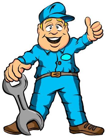 Vector illustratie van het beeldverhaal van een Mechanic Klaar voor het Werk