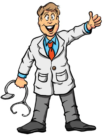 Vector illustration of a doctor giving a thumbs up