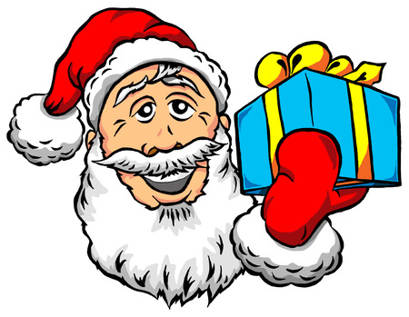 Vector image of a happy Santa presenting a gift