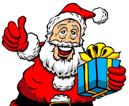 Vector Cartoon of a Thumbs Up Santa With a Gift