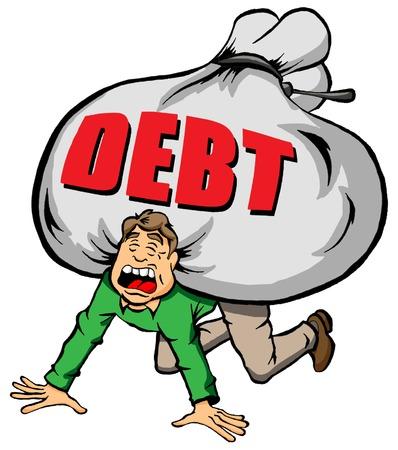 Cartoon beeld van iemand gebukt door te veel schulden Stock Illustratie